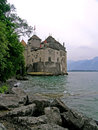 Chillon castle in montreux switzerland the is an island located on the shore of lake geneva the commune of veytaux at the eastern Royalty Free Stock Photography