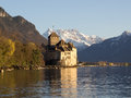 Touristic Chillon Castle Before Sunset in Switzerl Royalty Free Stock Photo