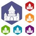 Chillon Castle, Switzerland icons set Royalty Free Stock Photo