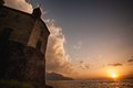 Chillon Castle in Switzerland during the sunset. Royalty Free Stock Photo