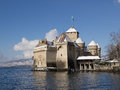 Chillon Castle in Winter with Snow Stock Photos