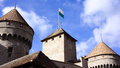 Chillon turrets the of castle in montreux switzerland Royalty Free Stock Photo