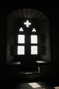 Chillon window the inside of castle in sunlight Royalty Free Stock Image