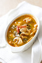 Chilly chicken tom yum on white fabric Royalty Free Stock Image