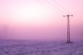 Chilly windy morning on the meadow. Old iron electric pole in countryside with the pink sky. Royalty Free Stock Photo