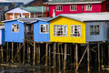 Chiloe palafitos typical architecture stilts in castro big island of chile Royalty Free Stock Photography
