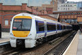 Chiltern railways dmu at birmingham moor street class diesel multiple unit number arriving station in the west midlands with a Royalty Free Stock Photography