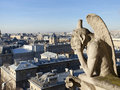 Chimera overlooking the skyline of Paris Royalty Free Stock Photo