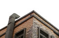 Chimney on brick building, isolated white with path Royalty Free Stock Photo