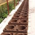 Chimney concrete blocks - Red orange Stock Photo