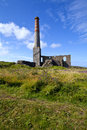 Chimney Remains at Levant Tin Mine in Cornwall Stock Photo