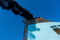 Chimney of the ship shipwith black smoke Stock Photo