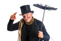 Chimney sweep funny greeting with his top hat Stock Image
