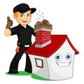Chimney Sweeper give chimney cap Royalty Free Stock Photo