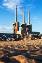 Chimneys of neglected power station in sand adria de besos barcelona spain Stock Photography