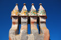Chimneys on the roof casa batllo Royalty Free Stock Photo