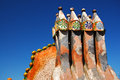 Chimneys on the roof and dragon profile casa batllo Royalty Free Stock Photo