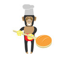 Chimp baker illustration of a on a white background Royalty Free Stock Photography