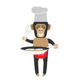 Chimp chef cooking eggs illustration of a on a white background Royalty Free Stock Image
