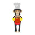 Chimp chef cooking illustration of a on a white background Royalty Free Stock Photography