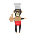 Chimp chef in sunglasses illustration of a on a white background Stock Image
