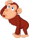 Chimpanzee cartoon thinking Royalty Free Stock Photo