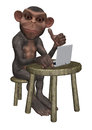 Chimpanzee Using Laptop Illustration Royalty Free Stock Photo