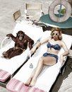 Chimpanzee and a woman sunbathing Royalty Free Stock Photo