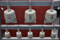 China ancient chime bells examples of shown in beijing olympic park Stock Photos