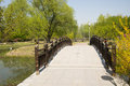 China asia beijing the olympic forest park garden landscape,the wooden bridge in a set of tourism leisure and entertainment Stock Photo