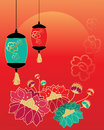 China celebration an illustration of a chinese new year greeting card design with stylized flowers lanterns and a rising sun Royalty Free Stock Photography