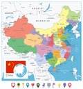 stock image of  China Colored Map and Flat Pin Icons