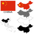 China - Contour maps, National flag and Asia map vector Royalty Free Stock Photo