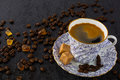 China cup of coffee on black background Royalty Free Stock Photo