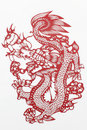 China cut paper by hand is a kind of folk craft circulating for a long time is to put the red into various animals and Stock Photos