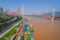 China downtown city skyline over the Yangtze River Royalty Free Stock Photo