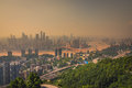 China downtown city skyline over the Yangtze River Royalty Free Stock Photo