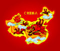 China dragon map of with a mighty sky Royalty Free Stock Images