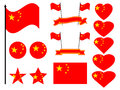 China flag set. Collection of symbols, flag in heart. Button and star. Vector Royalty Free Stock Photo