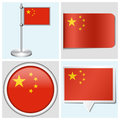 China flag set of sticker button label and fla various flagstaff Royalty Free Stock Images