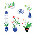 China and flower blue classic illustration design Royalty Free Stock Photos