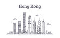 China hong kong city skyline. Architecture landmarks and buildings vector line panorama Royalty Free Stock Photo