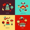 China illustration set culture chinese food tradition flat icons isolated vector Stock Photos