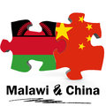 China and Malawi flags in puzzle