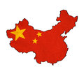 China map on china flag drawing grunge and retro series Royalty Free Stock Image