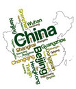 China map and cities Royalty Free Stock Image