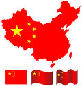 China map and flag of china on white background Royalty Free Stock Image
