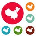China map icons circle set vector Royalty Free Stock Photo