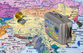 China map and travel case with stickers my photos Royalty Free Stock Photo