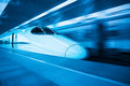 China railway highspeed train with blue tone Royalty Free Stock Photography